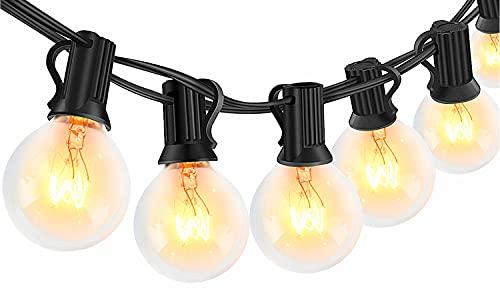 Catena Luminosa Esterno - 8m Catena Luci Stringa Impermeabile con 25 G40 Lampadina e 5 di Ricambio, Luci da Esterno e Interno per Natale, Festa, Giardino, Matrimonio