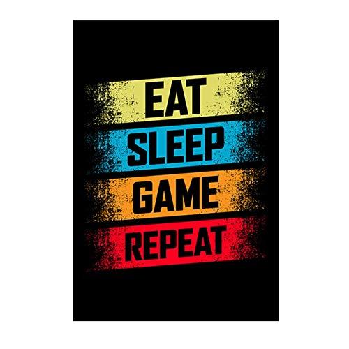 CCZWVH Comer Sleep Game Repett Gaming Wall Art Poster Gamer Lienzo Pintura Poster y Impresiones para niños Habitación Decorativo Imagen Playroom 20x28 pulgadas x2 Sin Marco