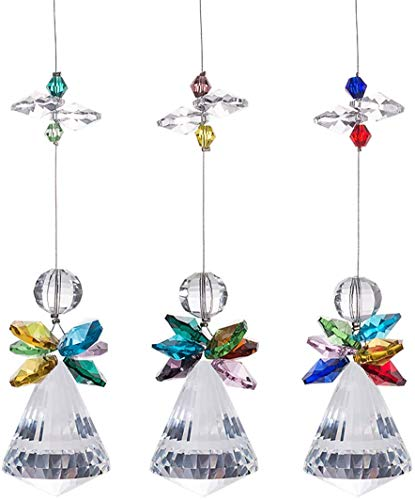 Glass Crystal Rainbow Angel Ornament Chakra Hanging Suncatcher Window Sun Cactwith Baroque Maple Leaf Pendant for Gift, Pack of 3 (A)