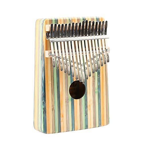 Piano Portable Kalimba Kleur Bar Bamboehout Duim Piano 17 Key Standaard C Tune Vinger Piano Metal Gesneden Notities En Tuning Hamer Handtasleer voor kinderen Volwassen beginners