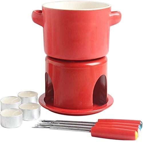 RJJ Großer rotes Eis Keramik Fonduetopf Schokolade Käsehandgemachte kleiner Herdset Schmelzofen (mit 4 Gabeln)