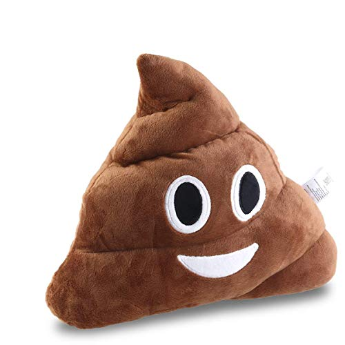 BESTOMZ Poop Plush Pillow Round Cushion Toy Brown, 35 x 35 x 10 cm (Smile Poop )