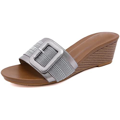 WNRGD Sandalias De Mujer Verano Cuña Zapatillas Punta Abierta Antideslizante Casual Zapatos Playa Caminar Aire Libre,B,EU 42