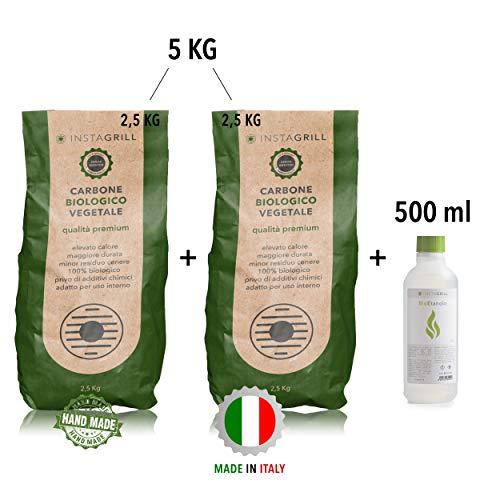 Houtskool voor beuken en leuning 2 x 2,5 kg = 5 kg plus 1 fles 500 ml bio-ethanol gel - perfect voor tafelgrill zonder fumo - geschikt voor alle grills - Made in Italy