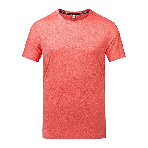 DamaiOpeningcs Camiseta de yoga con secado rápido transpirable, con media mangas de punta redonda, súper suave, elástica, color rojo