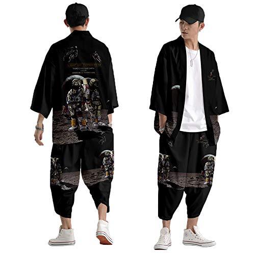 curtain Set Giacca Kimono da Uomo,Pantaloni Stile Harem Casual,Stampa Teschio Astronauta,Cardigan Sottile Giapponese Primavera Ed Estate S-6XL,Black-XLarge