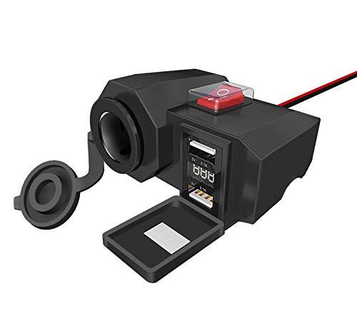 5 V 2.1A + 2.1A Wasserdichtes Motorrad-USB-Ladegerätmit Zigarettenanzünder und Voltmeter für Telefone Tablets GPS