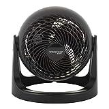 Woozoo by Ohyama, Ventilador de mesa / ventilador de escritorio potente y silencioso, 31W, Hélices 3D patentadas, Rotación de 360°, 3 velocidades, Para superficie 23m² - Woozoo PCF-HE18 - Negro