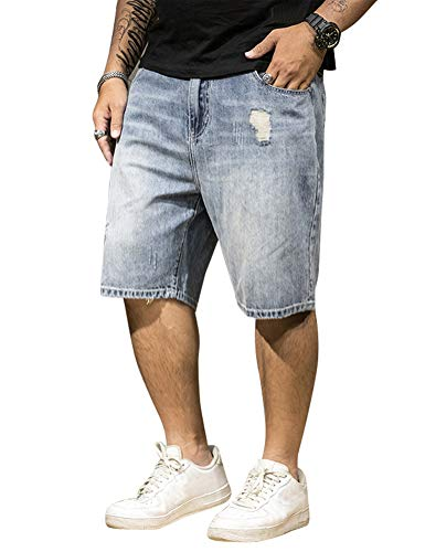 IDEALSANXUN Mens Casual Big&Tall Loose Fit Ripped Denim Shorts (Blue 003, 34)