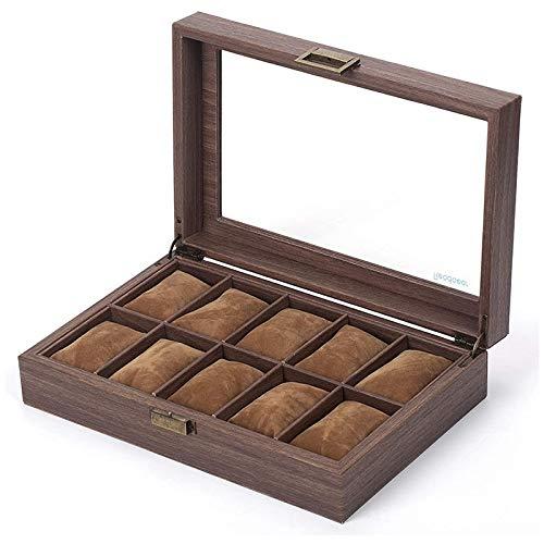 Fransande Caja organizadora de reloj de piel sintética con 12 ranuras y parte superior de cristal.
