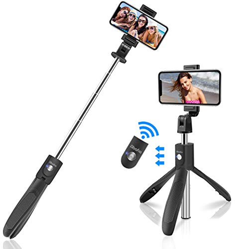 Abafia Selfiestick Bluetooth, Selfie Stick Stativ 360° Rotation Wireless Selfie Stange Stab mit Bluetooth Fernauslöse für 4.5-6.5 Zoll Android und IOS üralle Handys