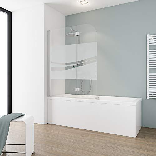 Schulte Duschabtrennung, verschiedene Gläser, faltbar für Badewanne, einfacher Aufbau, 112 x 140 cm, 5 mm Sicherheitsglas Dekor Liane, chromoptik, ExpressPlus, EP3353 41 197