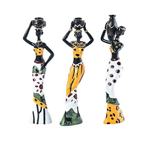 Healifty 3 Piezas Figuras de Mujeres Africanas Estatua de Señora Tribal Mesa de Arte Figura Humana Resina Decorativa Señora Escultura para Escuela de Oficina en Casa