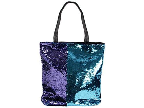 Pailletten Shopper Tasche Geräumige Strandtasche mit Wendepailletten 37 cm x 34 cm mit Reißverschluss Shopperbag Tragetasche Schultertasche von Alsino, Variante wählen:TT-P03 blau Navy blau