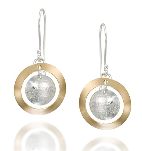 Stera Jewelry Two Tone 925 Sterling Silver and 14k Gold Filled Multi Circle Dangle Earrings