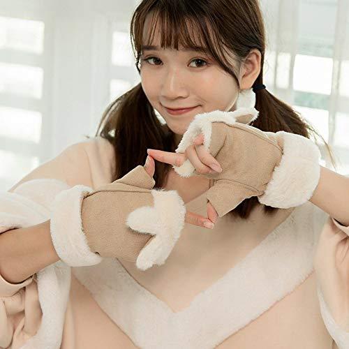 Guantes calientes del invierno Winter Plus felpa caliente grueso medio dedo guantes mitones de Flip manera de las mujeres más calientes (Color : A Khaki, Size : 1)