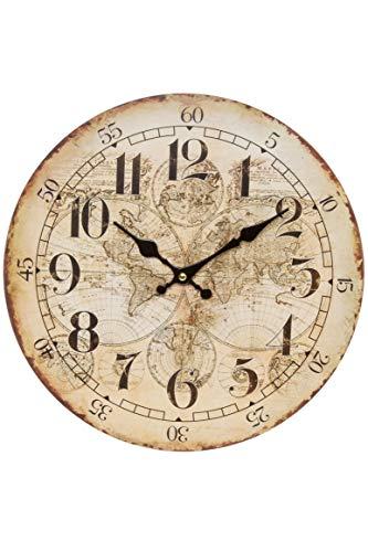 Wanduhr - Holz Küchenuhr mit großem Ziffernblatt aus MDF, Retro Uhr im angesagtem Shabby Chic Design (Weltkugel antik)