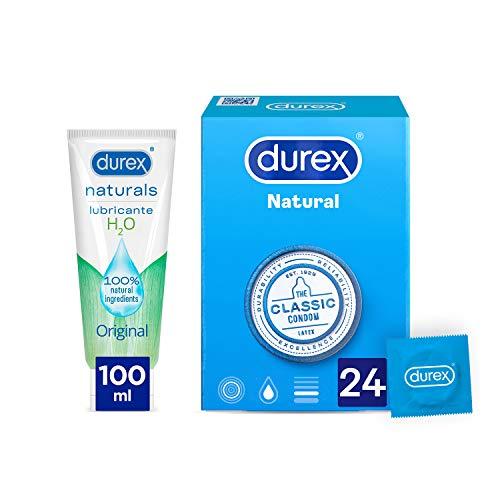 Durex Preservativos Natural Originales 24 unidades + Lubricante Naturals H2O de Base Agua 100ml