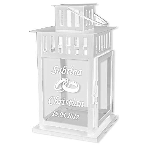 Hochzeitsgeschenk Laterne mit Gravur mit Ringe, Tauben und Herz Motiv 28x15x15cm - personalisiertes Geschenk zur Hochzeit für Brautpaare