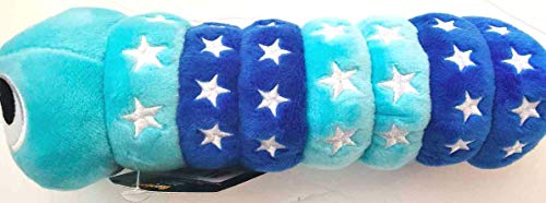 Slither.io 8' Bendable Plush Worm Toy with tag - Aqua Blue/Blue with Stars