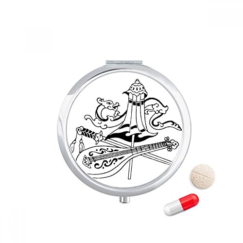 DIYthinker Chinese Paraplu Zwaard Dragon Tekening Reizen Pocket Pill case Medicine Drug Storage Box Dispenser Spiegel Gift