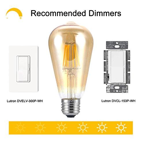 LED Edison Light Bulb 6W 2300K Warm White Vintage Style Bulbs, ST64, Edison Light Bulbs, Vintage Bulbs LED, 60W Equivalent (6W-Amber-2300K)