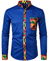 ZEROYAA Men's Hipster Patchwork Design Slim Fit Long Sleeve Button up Mandarin Collar Shirts ZZCL46 Royal X Large