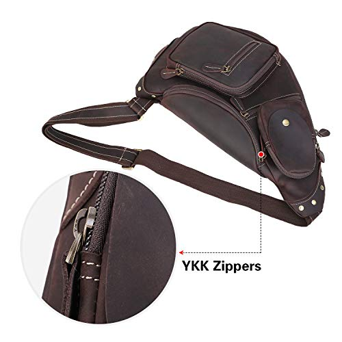 Texbo Genuine Cowhide Leather Cross Body Sling Bag Backpack Bag with YKK Zippers