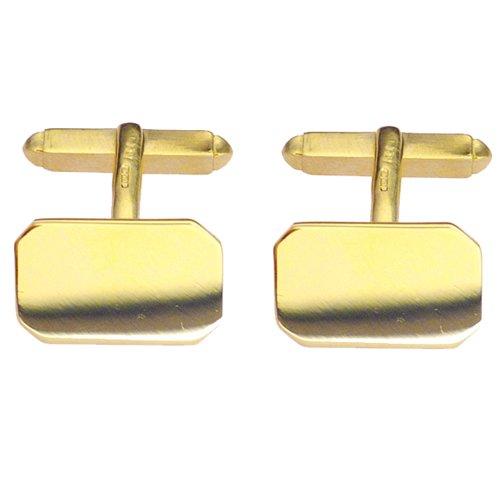 Boutons de manchettes 18x12mm en Or Jaune 9ct - 375/1000 pivotant simple