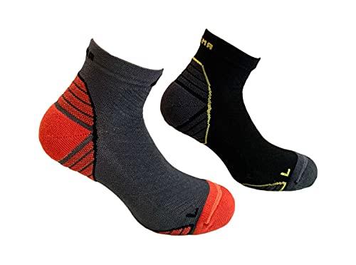 DOGMA Speedy Cheetah - Doppelpack Laufsocken kurz, knöchelhohe Sport- und Sneaker-Socken Damen & Herren, Trailrunning Socks, Antiblasen, Anti-Schweiß Sportsocken, Multisport, Running (Duo M, 43-46)