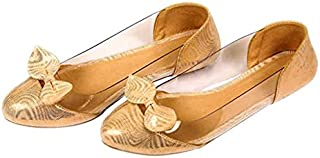 Planet Wear Comfortable and Stylish Women Ballerina Beige Transparent Latest Style Bellies with Designer Bow
