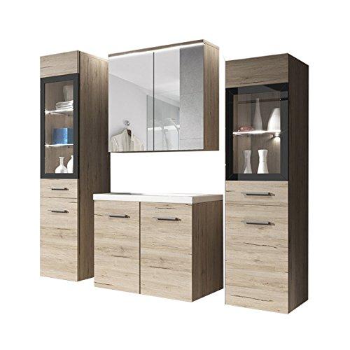 Badmöbel Set Udine II mit Waschbecken und Siphon, Modernes Badezimmer, Komplett, Spiegelschrank, Waschtisch, Hochschrank, Möbel (mit weißer LED Beleuchtung, San Remo)