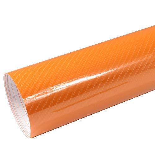 Rapid Teck® 6,53€/m² AutoFolie Serie z560 5D Hochglanz Carbon Orange 1m x 1,52m selbstklebende Premium Car Wrapping Folie mit Luftkanal