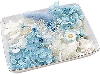 サムシングブルー花材セット 手芸クラフト ハーバリウム花材 アロマワックスサシェ プリザーブドフラワー アジサイ カスミ草 イモーテル (サムシングブルー)