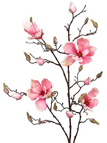 artplants.de Deko Magnolienzweig LORA, 4 Blüten, Knospen, rosa, 110cm - Künstlicher Zweig - Deko Blumen