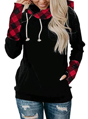ZIYYOOHY Damen Crewneck Pullover Hoodies Lässige Langarm Tunika Sweatshirts Kapuzenpullover S-XXL (M, Rotes Plaid)