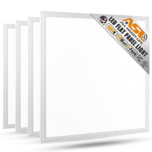 2x2 LED Flat Panel Light, Allsmartlife 4-Pack 2x2FT LED Panel Light Dimmable 4000K Bright White, 0-10V 40W(140W Equivalent) - White Frame, 4147 Lumens, 100-277V - DLC-Qualified and Lighting Facts