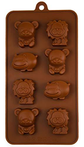 Silikonform mit Zoo-Tiere, Pralinenform, Schokolade, Giessform, Silicone Mold, Kindergeburtstag, Abschiedsfeier, Kuchenverzierung, Löwe, Bär, Nilpferd, Dschungel, Deko Kuchen, Farbe: Braun, BlueFox