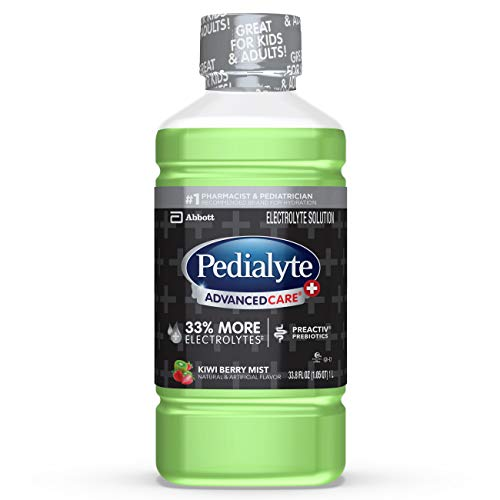 Pedialyte AdvancedCare Plus Electrolyte Drink, 1 Liter, 4 Count, with 33% More electrolytes & Has Preactiv Prebiotics, Kiwi Berry Mist