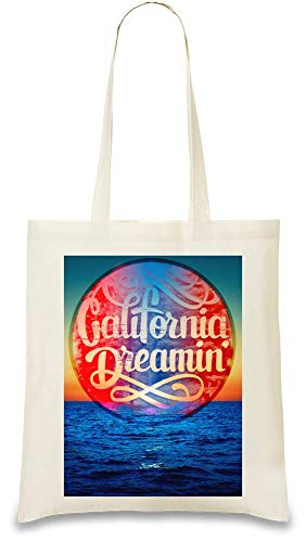 Kalifornien Dreamin ' - California Dreamin' Custom Printed Tote Bag| 100% Soft Cotton| Natural Color & Eco-Friendly| Unique, Re-Usable & Stylish Handbag For Every Day Use| Custom Shoulder Bags By