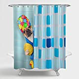 MitoVilla Funny Dog Shower Curtain, Cartoon French Bulldog Wearing a Bathing Cap with Yellow Plastic Duck Behind Shower Curtain Bathroom Decor, Dog Lovers Gifts for Women, Men and Kids, 72