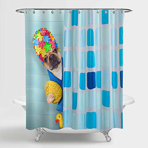 MitoVilla Funny Dog Shower Curtain, Cartoon French Bulldog Wearing a Bathing Cap with Yellow Plastic Duck Behind Shower Curtain Bathroom Decor, Dog Lovers Gifts for Women, Men and Kids, 72' W x 72' L