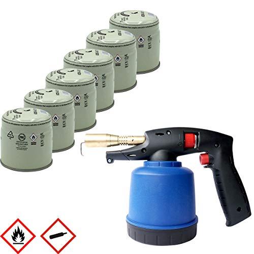 Lötlampe mit Piezozündung inkl. 6x Butan-Propan-Gas-Kartuschen 190g Lötbrenner Bunsenbrenner Gasbrenner