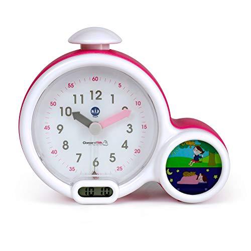 Pabobo Kid Sleep - Wecker - Kinder pädagogische Wecker Tag / Nachtbeleuchtung - Doppelanzeige und 3 Alarme zu wählen - funktioniert auf DC oder Batterien – rosa