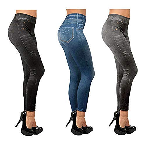 ShopINess Slim Jeggings, Pack of 3 (1Blue, 1grey, 1black) (L/XL). Size 38...
