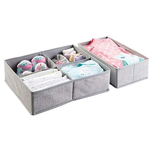 mDesign Juego de 2 cajas organizadoras de tela (5 compartimentos) – Preciosos organizadores para cajones y cómodas – Cestas para ordenar accesorios para bebés – gris