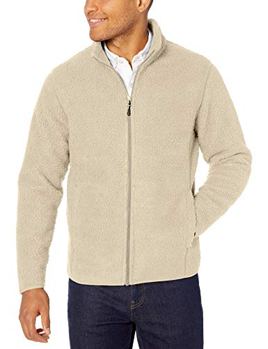 Amazon Essentials High Pile Full-Zip fleece-outerwear-jackets, Off White, Small