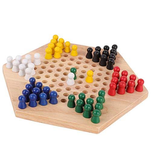 VGEBY Strategie-Brettspiel Chinese Checkers aus Holz mit 60 Holzmurmeln in 6 Farben für alle Altersgruppen