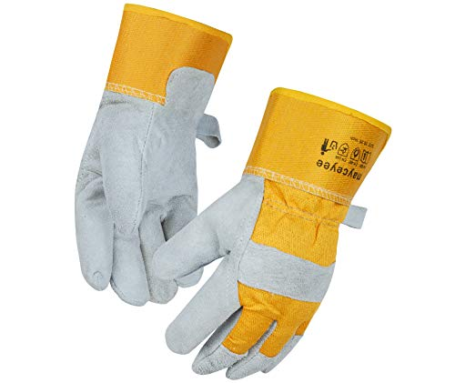 mayceyee Leather Heat Resistant Forge Welding Gloves, Mitts for Oven/Fireplace/Stove/Pot Holder/Baking/BBQ, Fire and Cut Resistant Leather Gloves, 10.25 inch