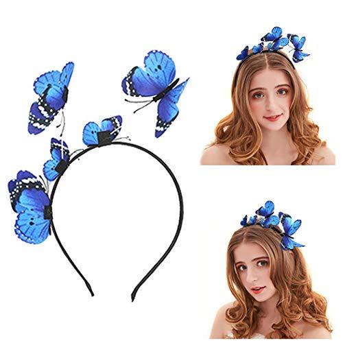 Mintime Haarband voor dames en meisjes, vlinder, haarband, hoofdtooi voor bruidsieraden blauw